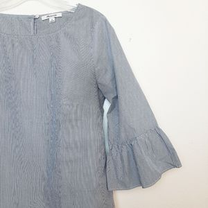 Madewell Striped Bell Sleeve Blouse White Blue M